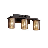 Fusion 3 Light 21 inch Dark Bronze Bath Bar Wall Light in Mercury Glass