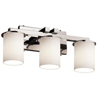 Justice Design FSN-8773-10-OPAL-CROM Fusion 3 Light 21 inch Polished Chrome Bath Bar Wall Light in Opal photo thumbnail