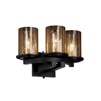 Justice Design Fusion Dakota 3-Light Curved-Bar Wall Sconce in Matte Black FSN-8776-10-MROR-MBLK