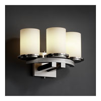 Justice Design Fusion Dakota 3-Light Curved-Bar Wall Sconce in Brushed Nickel FSN-8776-10-OPAL-NCKL
