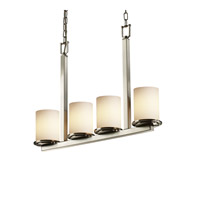 Justice Design Fusion Dakota 4-Light Bar Chandelier in Brushed Nickel FSN-8778-10-OPAL-NCKL