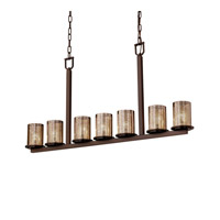 Justice Design Fusion Dakota 7-Light Bar Chandelier in Dark Bronze FSN-8779-10-MROR-DBRZ