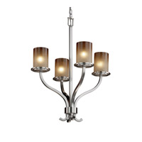 Justice Design FSN-8780-10-CRML-NCKL Sonoma 4 Light 22 inch Brushed Nickel Chandelier Ceiling Light in Caramel thumb