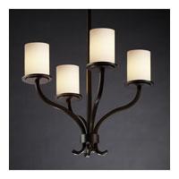 Justice Design Fusion Sonoma 4-Light Chandelier in Dark Bronze FSN-8780-10-OPAL-DBRZ