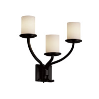 Justice Design Fusion Sonoma 3-Light Wall Sconce in Matte Black FSN-8783-10-OPAL-MBLK