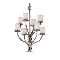 Justice Design Fusion Sonoma 8-Light 2-Tier Chandelier in Brushed Nickel FSN-8788-10-OPAL-NCKL