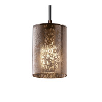 Fusion 1 Light 4 inch Dark Bronze Pendant Ceiling Light in Cord, Mercury Glass, Cylinder with Flat Rim