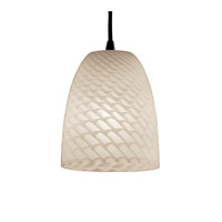 Justice Design Fusion Pendants Mini 1-Light Pendant in Dark Bronze FSN-8815-18-WEVE-DBRZ