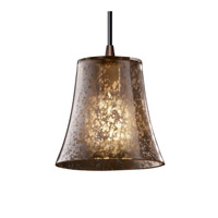 Fusion 1 Light Dark Bronze Pendant Ceiling Light in Cord, Mercury Glass, Round Flared