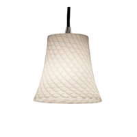 Fusion 1 Light 6 inch Brushed Nickel Pendant Ceiling Light in Cord, Weave, Round Flared
