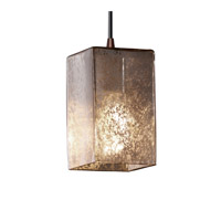 Fusion 1 Light 4 inch Dark Bronze Pendant Ceiling Light in Cord, Mercury Glass, Square with Flat Rim