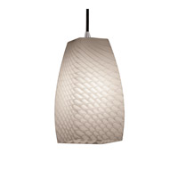 Justice Design FSN-8816-65-WEVE-ABRS Fusion 1 Light 5 inch Antique Brass Pendant Ceiling Light in Cord, Weave, Tall Tapered Square photo thumbnail