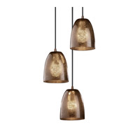 Justice Design Fusion Mini 3-Light Cluster Pendant in Dark Bronze FSN-8818-18-MROR-DBRZ