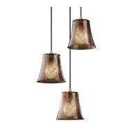 Justice Design Fusion Mini 3-Light Cluster Pendant in Brushed Nickel FSN-8818-20-MROR-NCKL