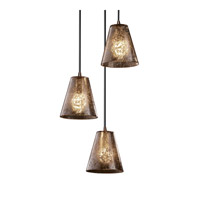 Justice Design Fusion Mini 3-Light Cluster Pendant in Dark Bronze FSN-8818-50-MROR-DBRZ