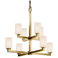 Justice Design FSN-8828-10-OPAL-ABRS Fusion Modular 8 Light 32 inch Antique Brass Chandelier Ceiling Light in Opal Cylinder with Flat Rim
