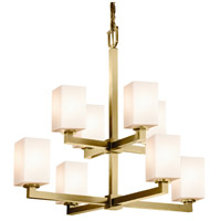 Justice Design FSN-8828-15-OPAL-ABRS Fusion Modular 8 Light 32 inch Antique Brass Chandelier Ceiling Light in Opal Square with Flat Rim