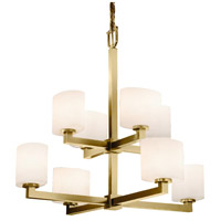 Justice Design FSN-8828-30-OPAL-ABRS Fusion Modular 8 Light 32 inch Antique Brass Chandelier Ceiling Light in Opal Oval