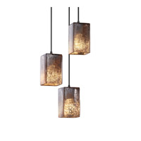 Justice Design FSN-8864-15-FRCR-CROM Fusion 3 Light 4 inch Polished Chrome Pendant Ceiling Light in Cord, Square with Flat Rim, Incandescent, Frosted Crackle
