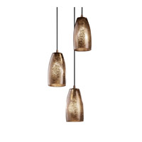 Fusion 3 Light Dark Bronze Pendant Ceiling Light in Cord, Mercury Glass, Tall Tapered Cylinder, Incandescent