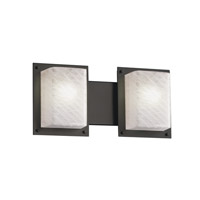 Justice Design FSN-8892-WEVE-MBLK Fusion 2 Light 17 inch Matte Black Bath Light Wall Light in Weave thumb