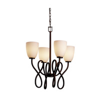 Justice Design Fusion Capellini 4-Light Chandelier in Dark Bronze FSN-8910-18-OPAL-DBRZ