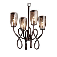Justice Design Fusion Capellini 4-Light Chandelier in Dark Bronze FSN-8910-28-MROR-DBRZ
