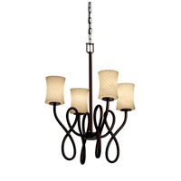 Justice Design Fusion Capellini 4-Light Chandelier in Dark Bronze FSN-8910-60-WEVE-DBRZ