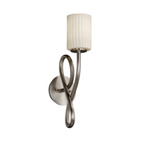 Justice Design FSN-8911-10-RBON-NCKL Fusion 1 Light 5 inch Brushed Nickel Wall Sconce Wall Light in Ribbon, Cylinder with Flat Rim, Fluorescent photo thumbnail