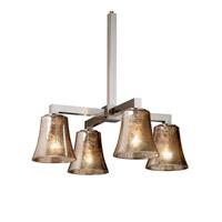 Justice Design FSN-8920-10-SEED-DBRZ Fusion 4 Light 21 inch Dark Bronze Chandelier Ceiling Light in Cylinder with Flat Rim, Incandescent, Seeded