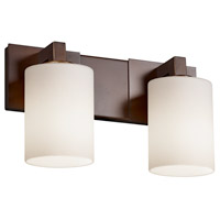 Fusion 2 Light 15 inch Dark Bronze Bath Bar Wall Light in Opal, Cylinder with Flat Rim, Fluorescent