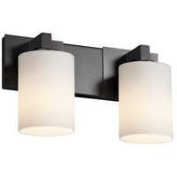 Fusion 2 Light 15 inch Matte Black Bath Bar Wall Light in Opal, Cylinder with Flat Rim, Fluorescent