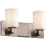 Fusion 2 Light 15 inch Brushed Nickel Bath Bar Wall Light in Opal, Cylinder with Flat Rim, Fluorescent