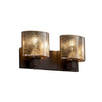 Fusion 2 Light 16 inch Dark Bronze Bath Bar Wall Light in Mercury Glass, Oval, Fluorescent