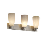 Justice Design Fusion Modular 3-Light Bath Bar in Brushed Nickel FSN-8923-28-WEVE-NCKL