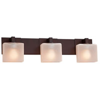 Justice Design FSN-8923-55-FRCR-DBRZ Fusion 3 Light 27 inch Dark Bronze Bath Bar Wall Light in Rectangle Incandescent Frosted Crackle
