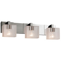 Justice Design FSN-8923-55-SEED-NCKL Fusion 3 Light 27 inch Brushed Nickel Bath Bar Wall Light in Rectangle Incandescent Seeded