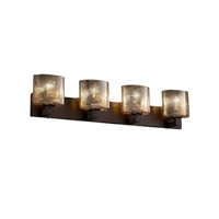 Fusion 4 Light 35 inch Dark Bronze Bath Bar Wall Light in Mercury Glass, Oval, Fluorescent