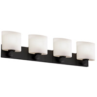 Justice Design Fusion Modular 4-Light Bath Bar in Matte Black FSN-8924-30-OPAL-MBLK