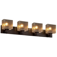 Fusion LED 35 inch Dark Bronze Vanity Light Wall Light in Rectangle, Mercury Glass, 2800 Lm 4 Light LED