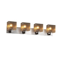 Justice Design FSN-8924-55-MROR-NCKL Fusion 4 Light 35 inch Brushed Nickel Vanity Light Wall Light in 7.25, Mercury Glass, Incandescent, 35.25, Rectangle thumb