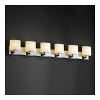 Fusion 6 Light 57 inch Polished Chrome Bath Bar Wall Light in Opal, Oval, Fluorescent