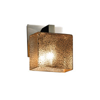 Justice Design FSN-8931-55-MROR-NCKL Fusion 1 Light 6 inch Brushed Nickel ADA Wall Sconce Wall Light in Mercury Glass, Rectangle, Fluorescent photo thumbnail