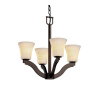 Justice Design Fusion Bend 4-Light Chandelier in Dark Bronze FSN-8970-20-DROP-DBRZ