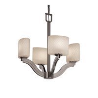 Justice Design Fusion Bend 4-Light Chandelier in Brushed Nickel FSN-8970-30-WEVE-NCKL