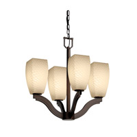 Justice Design Fusion Bend 4-Light Chandelier in Dark Bronze FSN-8970-65-WEVE-DBRZ