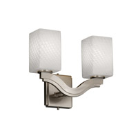 Justice Design Fusion Bend 2-Light Wall Sconce (Style 2) in Brushed Nickel FSN-8975-15-WEVE-NCKL