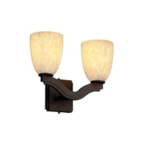 Justice Design Fusion Bend 2-Light Wall Sconce (Style 2) in Dark Bronze FSN-8975-18-DROP-DBRZ