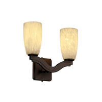 Justice Design Fusion Bend 2-Light Wall Sconce (Style 2) in Dark Bronze FSN-8975-28-DROP-DBRZ