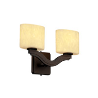 Justice Design Fusion Bend 2-Light Wall Sconce (Style 2) in Dark Bronze FSN-8975-30-DROP-DBRZ